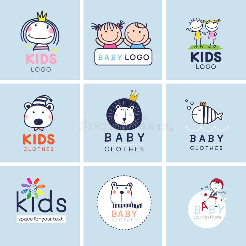 Creatieve tekens, symbolen en embleemreeks, Merkidentiteit voor baby, jonge geitjes, en kind stock illustratie