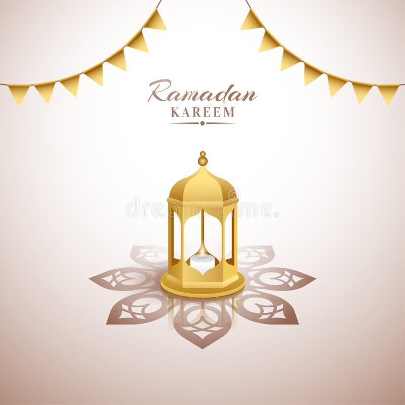 Creatieve toenemende Moskee met bunting vlagdecoratie voor Heilige maand vector illustratie
