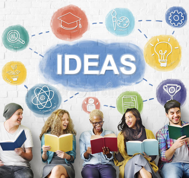 Creatieve uitwisselings van ideeën de Kennis veronderstelt denkt Concept stock afbeelding