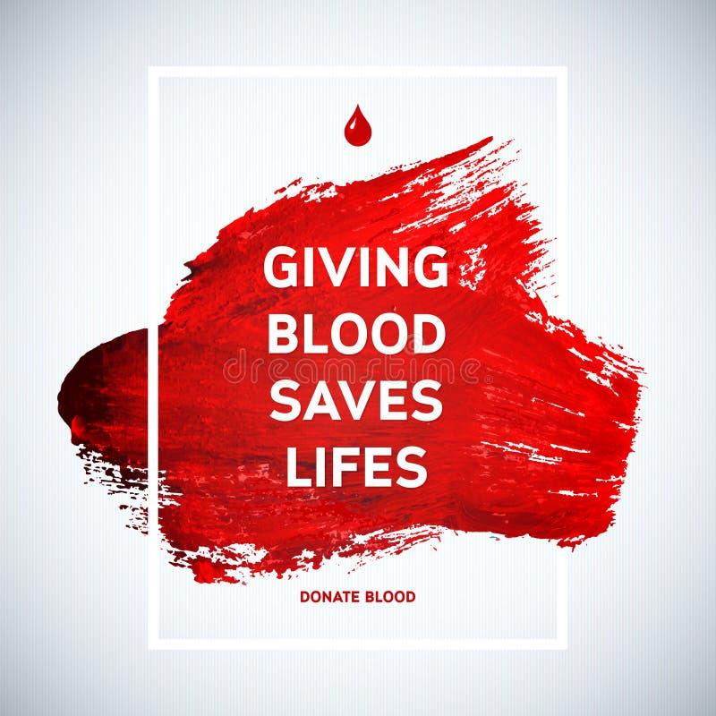 Creatieve van de de motivatieinformatie van de Bloedgeverdag de donoraffiche De schenking van het bloed De Dagbanner van de werel vector illustratie