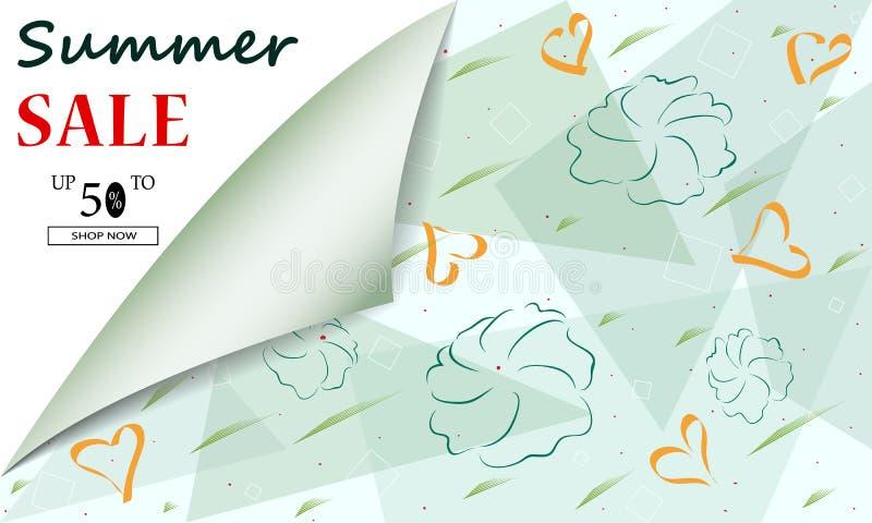 Creatieve van de de zomerverkoop kopballen of banners als achtergrond met kortingsaanbieding Kunstaffiches Ontwerp voor seizoenge stock illustratie