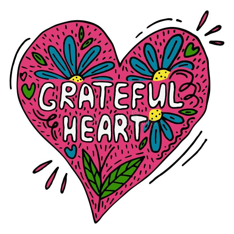 Creatieve vectoraffiche met woorden Dankbaar hart royalty-vrije illustratie
