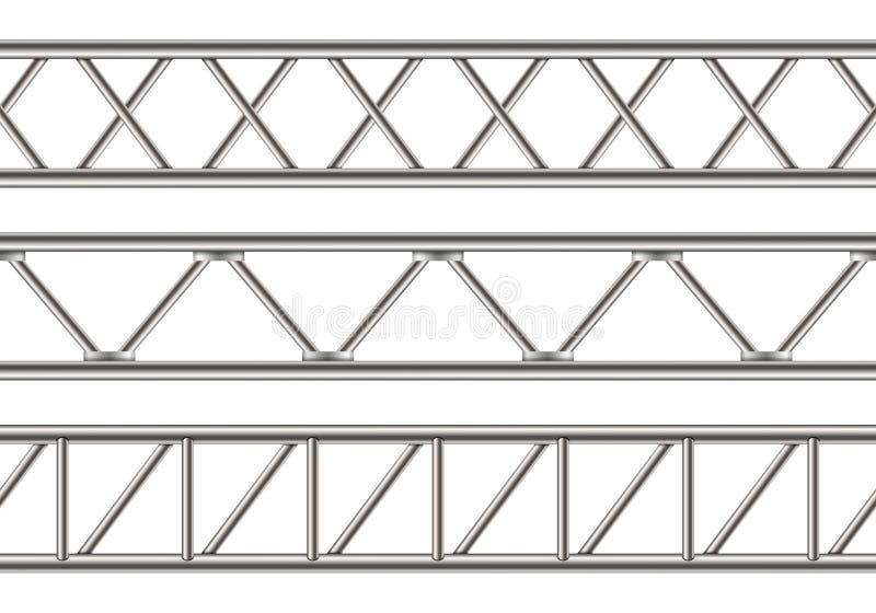 Creatieve vectordieillustratie van de balk van de staalbundel, chroompijpen op transparante achtergrond worden geïsoleerd Het ont vector illustratie