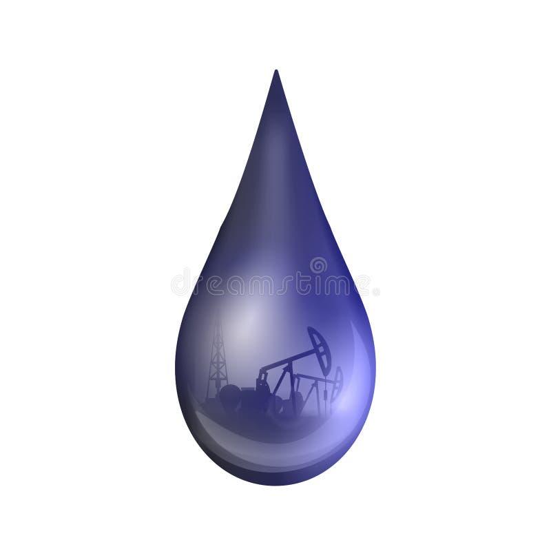 Creatieve vectorillustratie van aardoliedaling, druppeltje van een ruwe benzine of olie van de pompindustrie, geïsoleerd vat royalty-vrije illustratie
