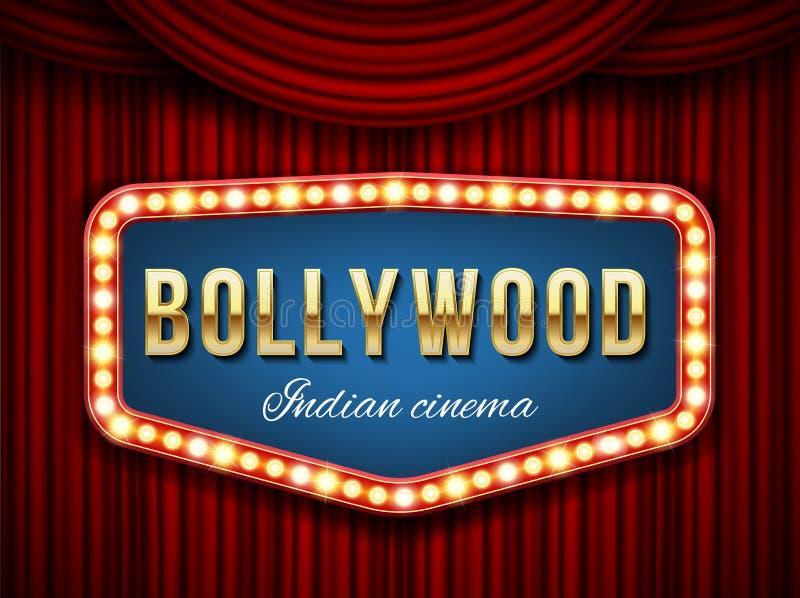 Creatieve vectorillustratie van de achtergrond van de bollywoodbioskoop De Indische film van het kunstontwerp, cinematografie, th vector illustratie