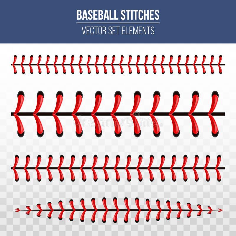 Creatieve vectorillustratie van de balsteken van het sportenhonkbal, rode die kantnaad op transparante achtergrond wordt geïsolee royalty-vrije illustratie