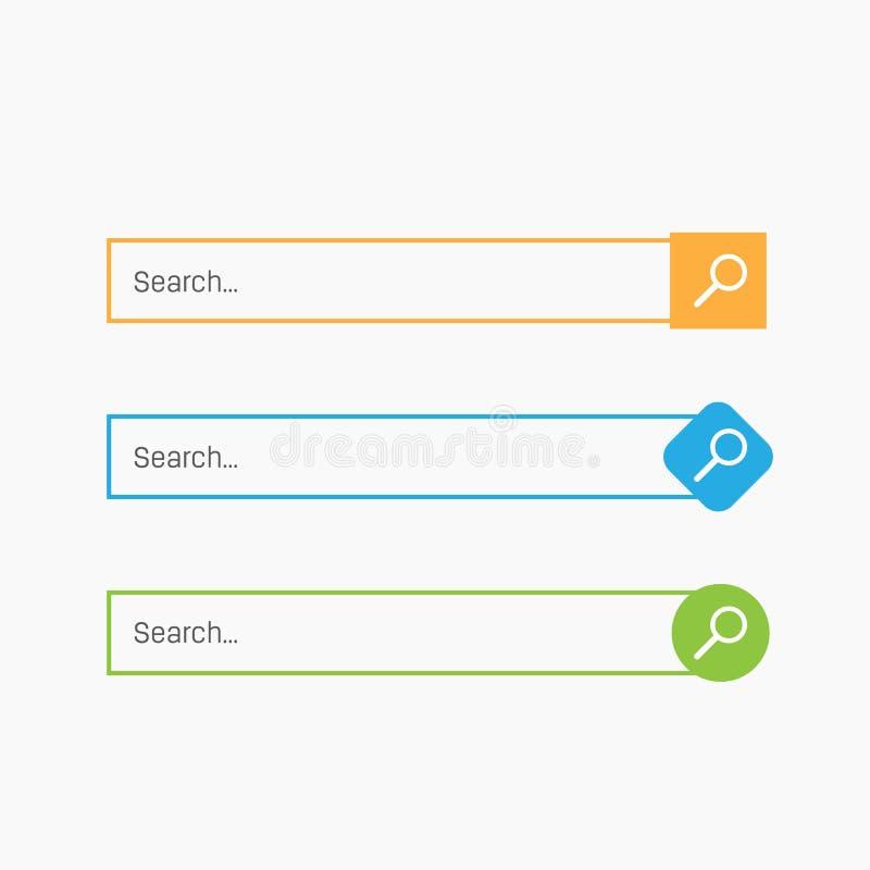 Creatieve vectorillustratie van de dozenknopen van de onderzoeksbar UI en UX-interfacemalplaatje op achtergrond wordt geïsoleerd  royalty-vrije illustratie