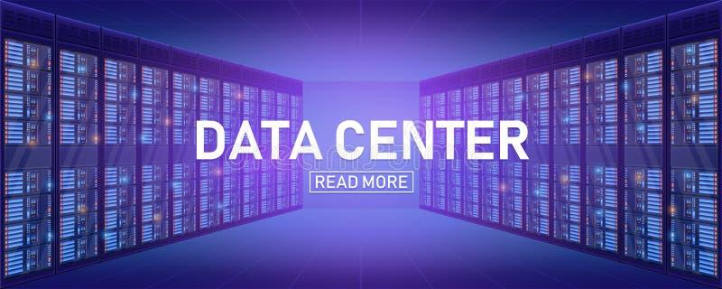 Creatieve vectorillustratie van de ruimte van het serverrek, het grote die centrum van de database op transparante achtergrond wo royalty-vrije illustratie