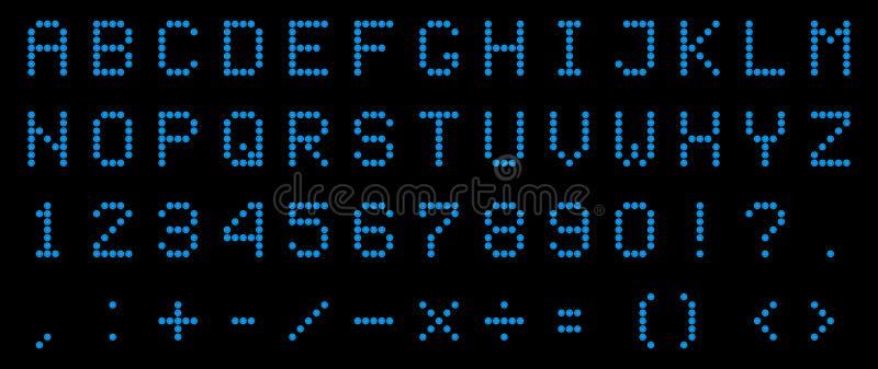 Creatieve vectorillustratie van geleid digitaal alfabet, doopvont, elektronische aantal digitale vertoning, brieven, teken, symbo royalty-vrije illustratie