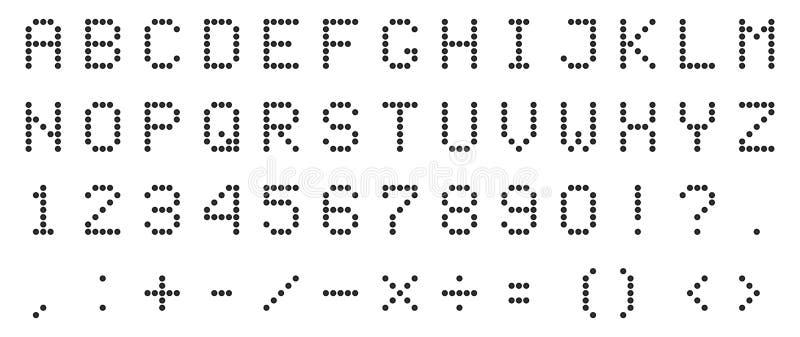 Creatieve vectorillustratie van geleid digitaal alfabet, doopvont, elektronische aantal digitale vertoning, brieven, teken, symbo vector illustratie