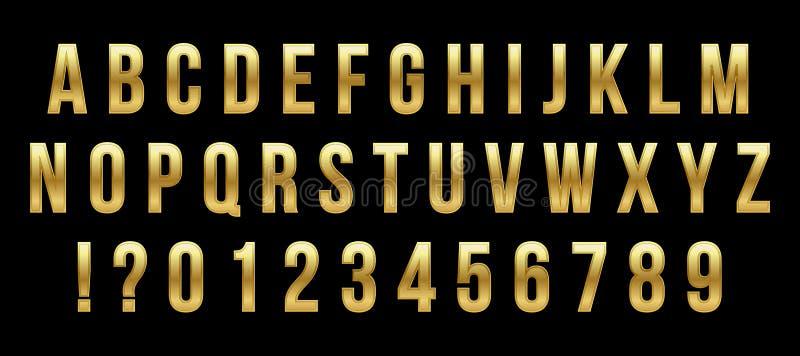 Creatieve vectorillustratie van gouden glanzende doopvont, gouden die alfabet, metaallettersoort op transparante achtergrond word vector illustratie