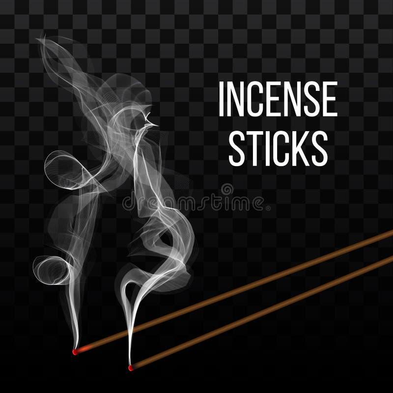 Creatieve vectorillustratie van het realistische die aroma van de wierookstok met rook op transparante achtergrond wordt geïsolee stock illustratie
