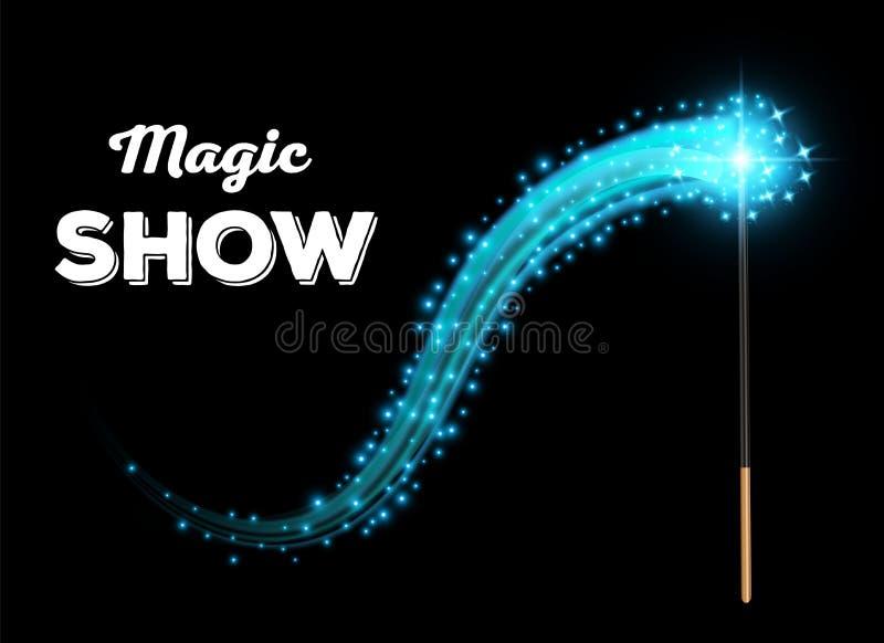 Creatieve vectorillustratie van mirakel magische die stok met fonkeling op transparante achtergrond wordt geïsoleerd Het hulpmidd stock illustratie