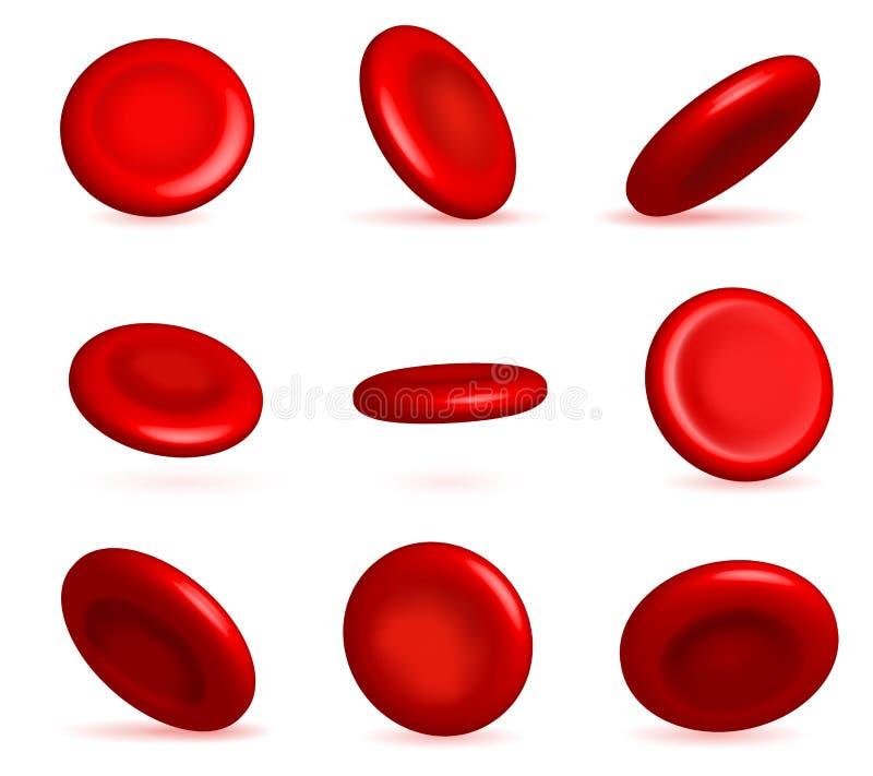Creatieve vectorillustratie van rode bloedcellenstroom, microbiologische medische die erytrociet op wit wordt geïsoleerd royalty-vrije illustratie