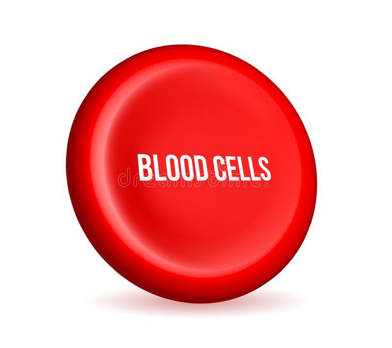 Creatieve vectorillustratie van rode bloedcellenstroom, microbiologische medische erytrociet op wit royalty-vrije illustratie