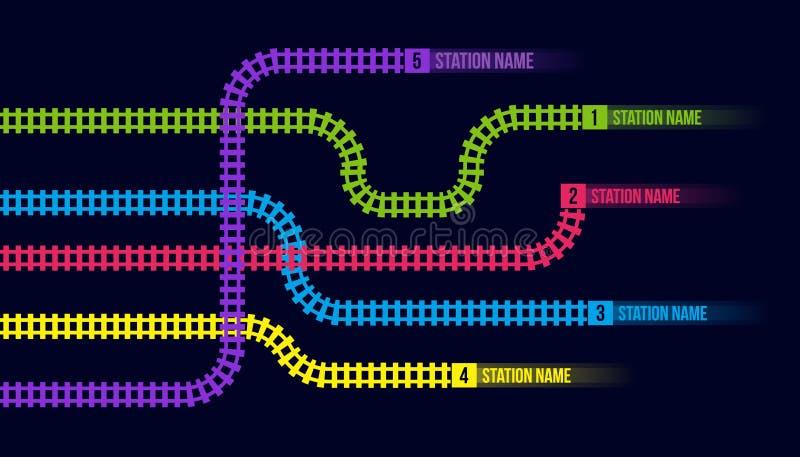 Creatieve vectorillustratie van stationkaart, metro infographic weg, geïsoleerd de routespoor van de treinspoorweg, stock illustratie