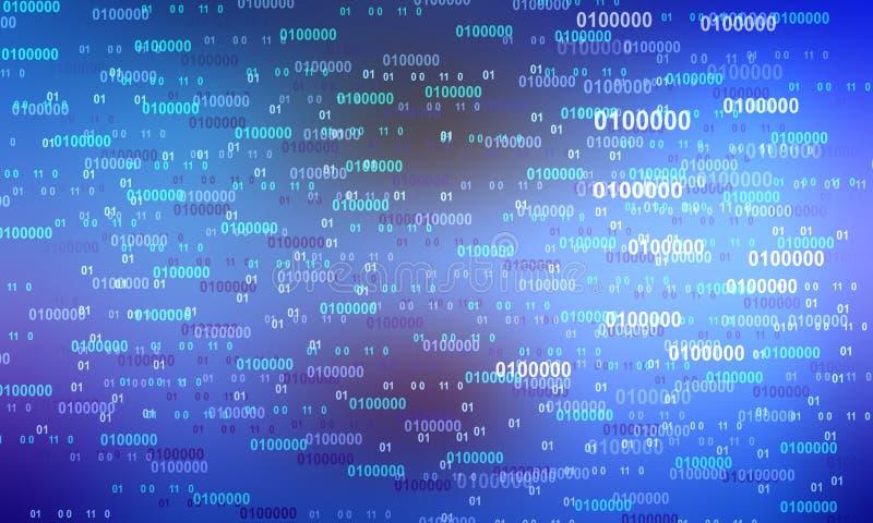 Creatieve vectorillustratie van stroom van binaire code Kunstontwerp voor achtergrond computermatrix Cijfers op het scherm Abstra stock illustratie