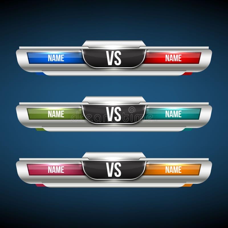 Creatieve vectorillustratie van tegenover achtergrond VERSUS het ontwerp van de embleemkunst voor de concurrentie, strijd, sportg stock illustratie