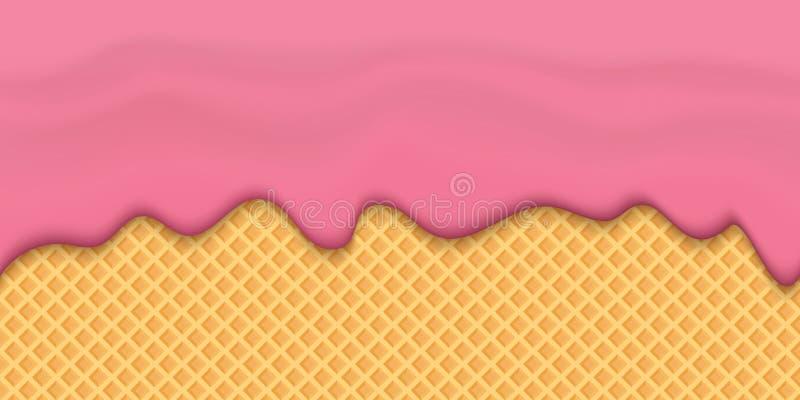 Creatieve vectorillustratie van yoghurt romige vloeibare druppels, van de de melkplons van de roomsmelting de stromende naadloze  stock illustratie