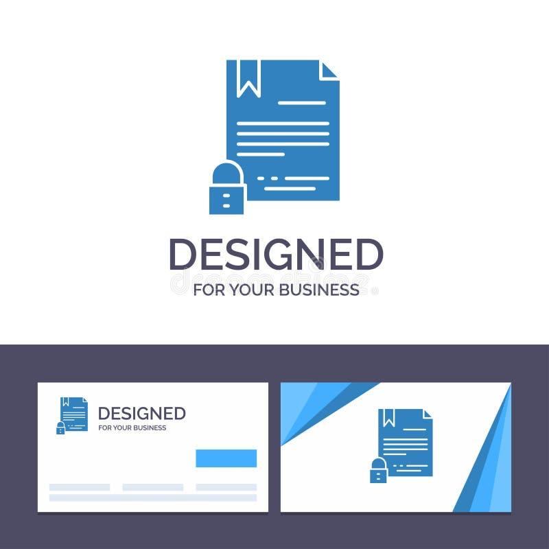 Creatieve Visitekaartje en Embleemmalplaatje Elektronische Handtekening, Digitaal Contract, Document, de Vectorillustratie van In vector illustratie