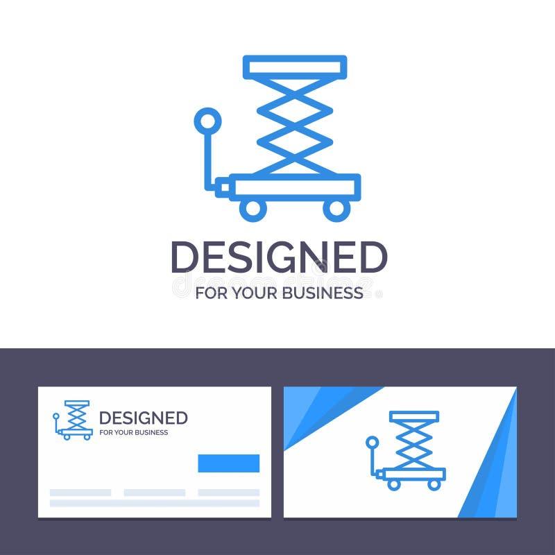 Creatieve Visitekaartje en Embleemmalplaatjeauto, Bouw, Lift, Schaar Vectorillustratie stock illustratie