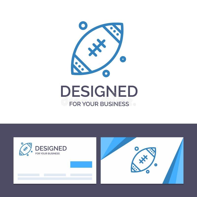 Creatieve Visitekaartje en Embleemmalplaatjebal, Rugby, Sporten, de Vectorillustratie van Ierland stock illustratie