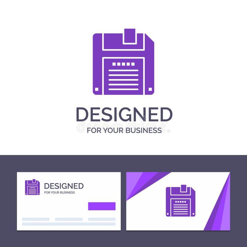 Creatieve Visitekaartje en Embleemmalplaatjefloppy, Diskette, sparen Vectorillustratie vector illustratie