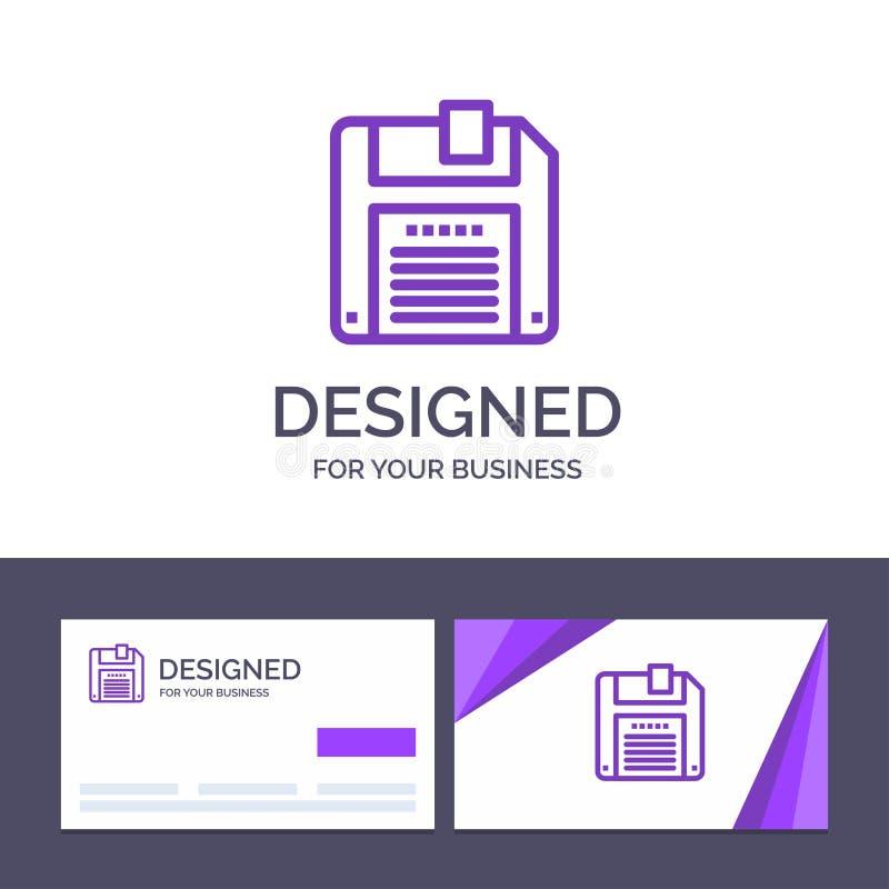 Creatieve Visitekaartje en Embleemmalplaatjefloppy, Diskette, sparen Vectorillustratie stock illustratie