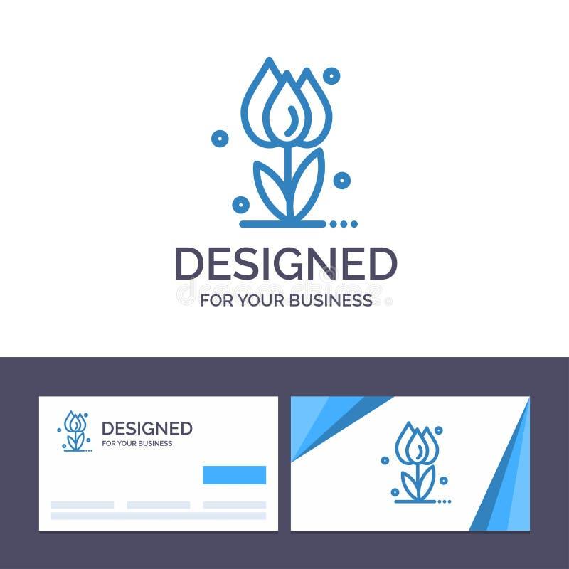 Creatieve Visitekaartje en Embleemmalplaatjeflora, Bloemen, Bloem, Aard, Rose Vector Illustration vector illustratie