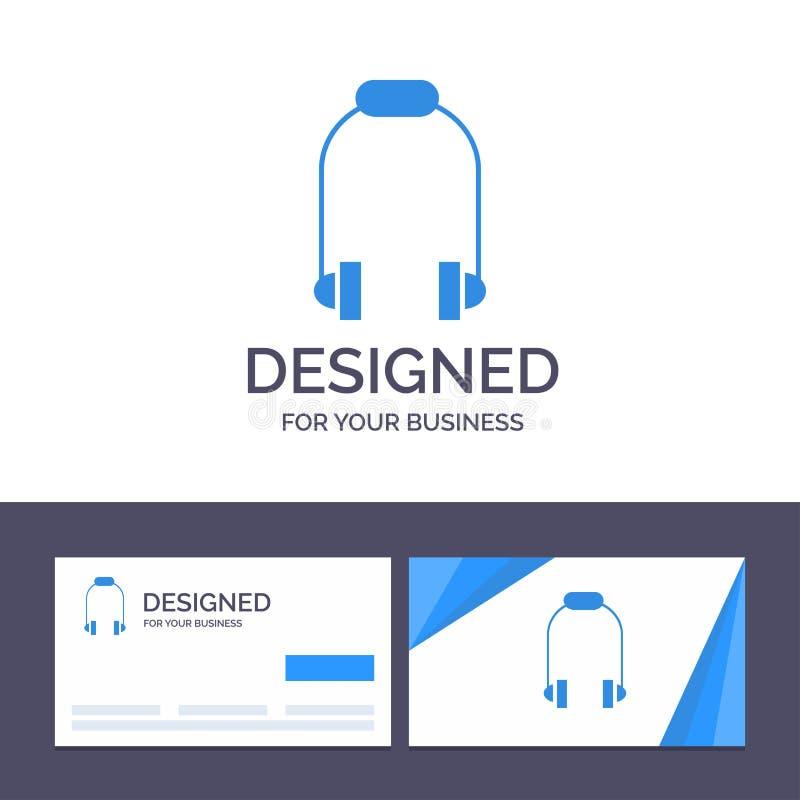 Creatieve Visitekaartje en Embleemmalplaatjehoofdtelefoon, Oortelefoon, Telefoon, Muziek Vectorillustratie vector illustratie