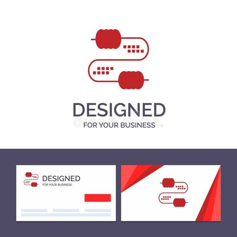 Creatieve Visitekaartje en Embleemmalplaatjekabel, Draad, Verbinding, Condensatoren Vectorillustratie vector illustratie