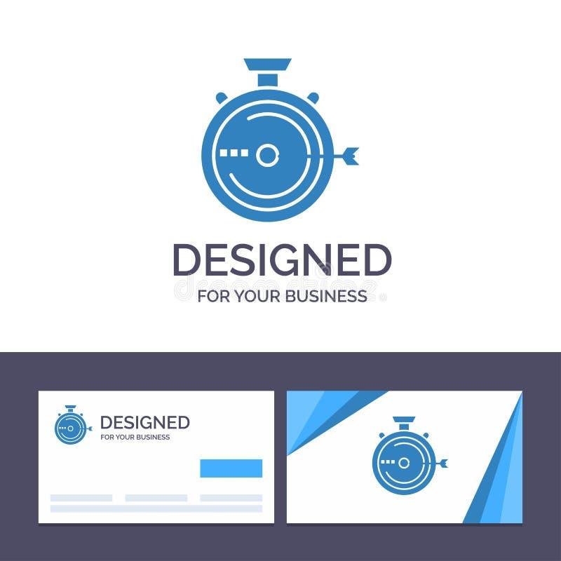 Creatieve Visitekaartje en Embleemmalplaatjelancering, Beheer, Optimalisering, Versie, Chronometer Vectorillustratie vector illustratie