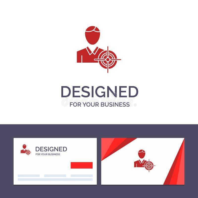 Creatieve Visitekaartje en Embleemmalplaatjemens, Nadruk, Doel, Doel Vectorillustratie stock illustratie