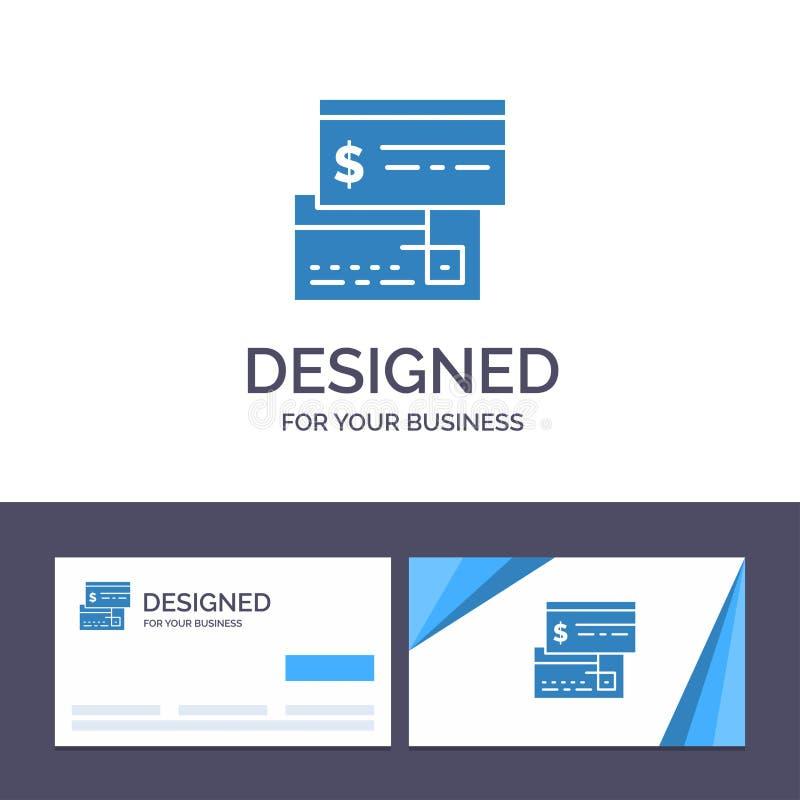 Creatieve Visitekaartje en Embleemmalplaatjerechtstreekse betaling, Kaart, Krediet, Debet, Directe Vectorillustratie royalty-vrije illustratie