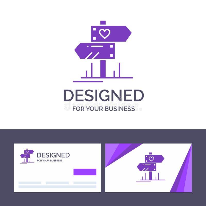 Creatieve Visitekaartje en Embleemmalplaatjerichting, Liefde, Hart, Huwelijks Vectorillustratie stock illustratie