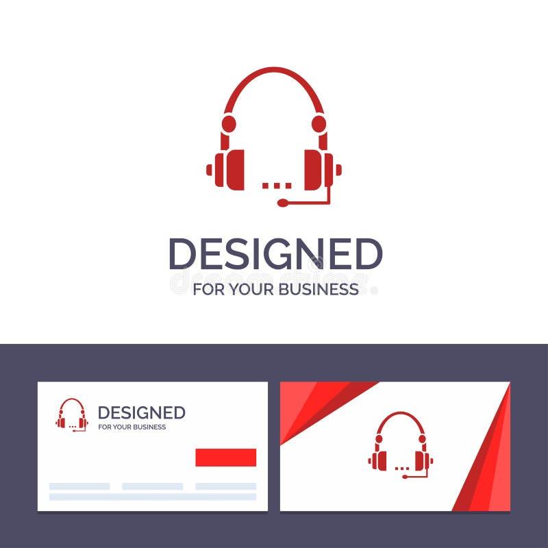 Creatieve Visitekaartje en Embleemmalplaatjesteun, Vraag, Mededeling, Contact, Hoofdtelefoon, Hulp, de Dienst Vectorillustratie vector illustratie
