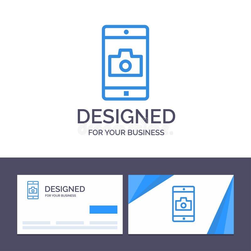 Creatieve Visitekaartje en Embleemmalplaatjetoepassing, Mobiele, Mobiele Toepassing, Camera Vectorillustratie vector illustratie