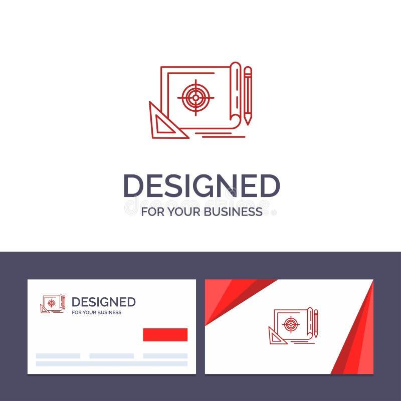Creatieve Visitekaartje en Embleemmalplaatjevoltooiing, Dossier, Dossierdoel, Marketing, Doel Vectorillustratie royalty-vrije illustratie