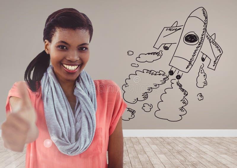 Creatieve vrouw met hand-drawn raket stock afbeeldingen