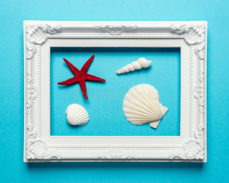 Creatieve zeeschelpensamenstelling met wit kader op blauwe achtergrond De zomer minimaal concept royalty-vrije stock foto's
