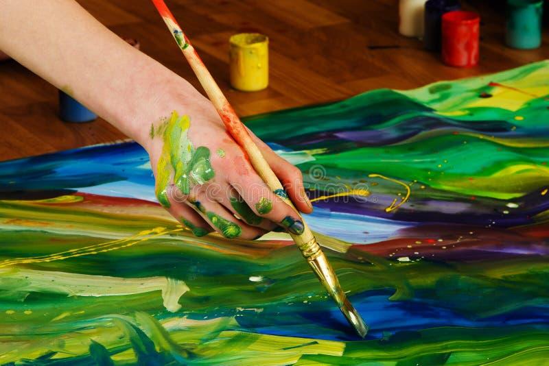 Creating art wallpaper. Abstract gouache painting art wallpaper royalty free stock photos