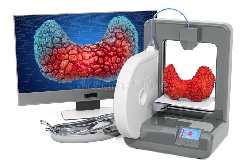 Creating artificial thyroid gland on three dimensional printer, 3d printing in medicine concept. 3D rendering. Isolated on white background royalty free illustration