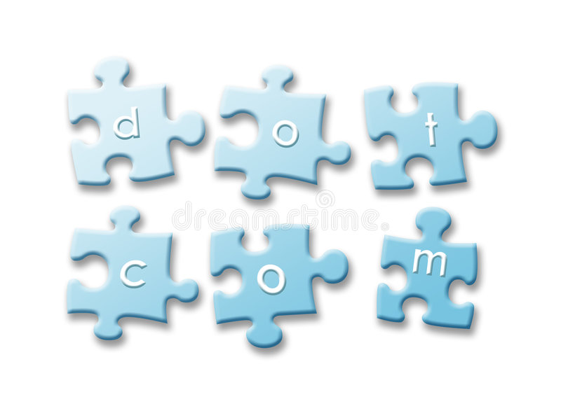 Creating dotcom business. Dotcom business concept using puzzle pieces royalty free illustration