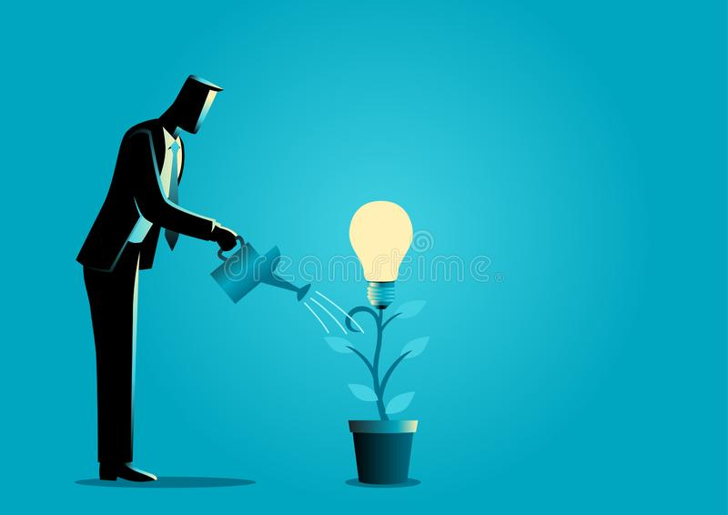 Creating ideas, business creative idea concept. Business concept illustration of a businessman watering young plant with light bulb on it. Creating ideas stock illustration