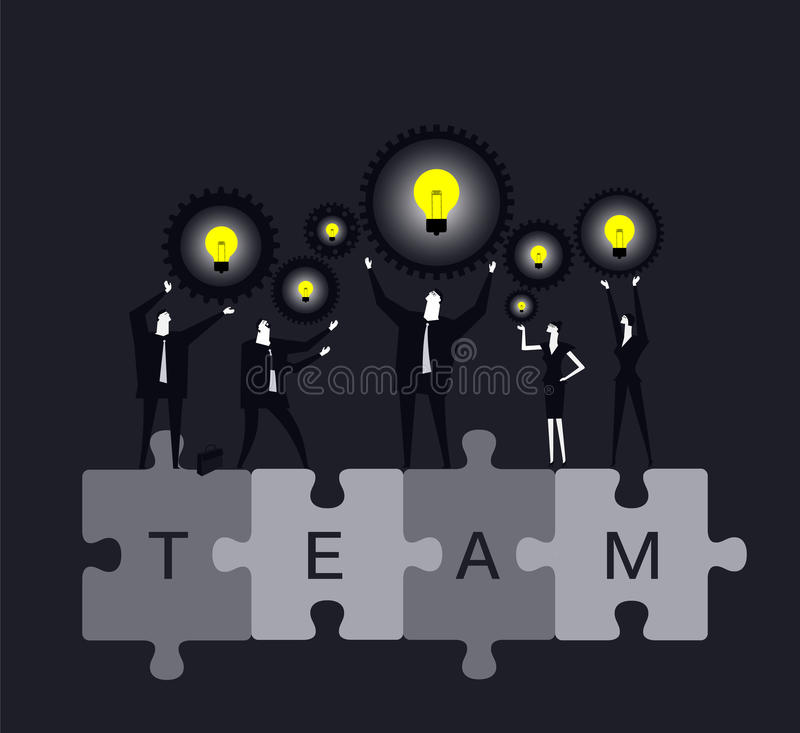 Creating ideas. Many business people creat ideas together vector illustration