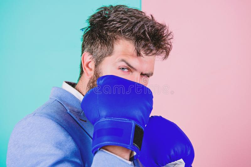 Creating a new personal best. Businessman wear boxing gloves. Strong man in boxing stance. Man boss have boxing training. Fighting for success in sport or royalty free stock photos