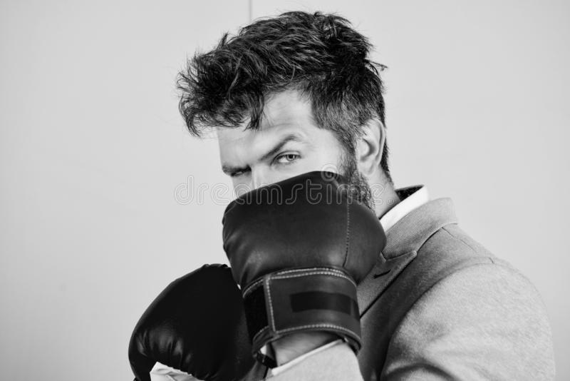 Creating a new personal best. Businessman wear boxing gloves. Strong man in boxing stance. Man boss have boxing training. Fighting for success in sport or royalty free stock photography