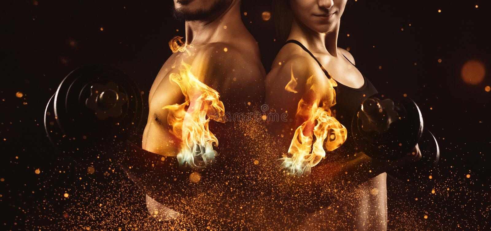 Creating the perfect male and female upper body concept. Dispersion effect stock image