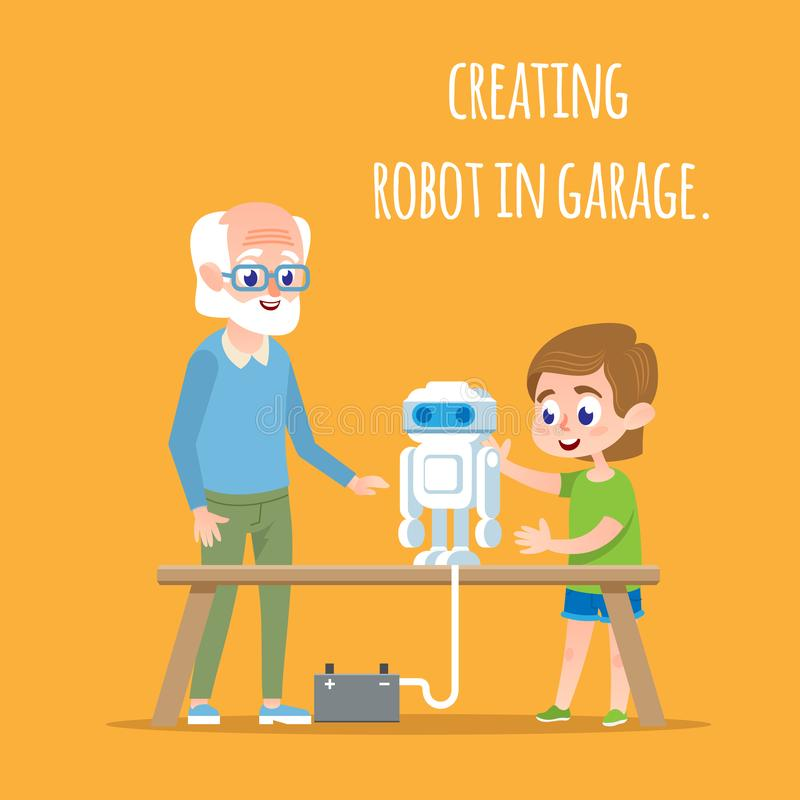 Creating Robot in Garage with Family. Tech Sciense royalty free illustration