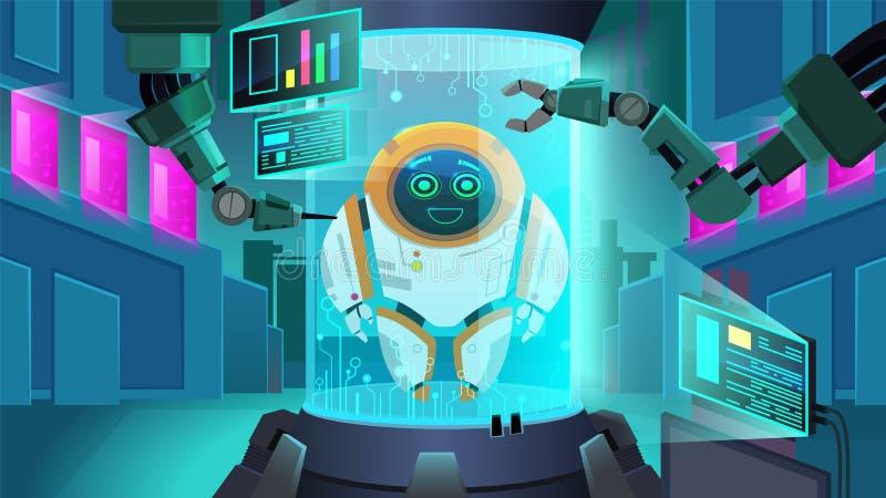 Creating Robot Next Generation Vector Illustration royalty free illustration